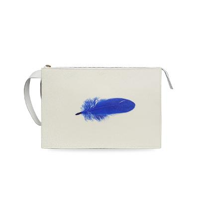 feather clutch white